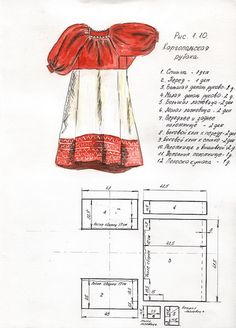 History of Beauty - History of Russian costume. Diy Clothing, Sewing Clothes, Clothing Patterns, Fashion Sewing, Diy Fashion, Kids Patterns, Sewing Patterns, Costume Russe, Sewing Hacks