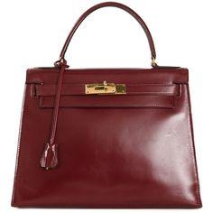 Hermès Vintage 'Kelly' 28 bag (79,580 EGP) ❤ liked on Polyvore featuring bags, handbags, hermes, red, hermes purse, real leather handbags, genuine leather handbags, red leather purse and vintage handbags