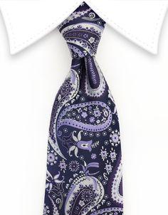 Purple, Lilac & Silver Paisley & Floral Necktie