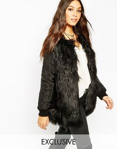 Story+Of+Lola+Longline+Bomber+Jacket+With+Shaggy+Faux+Fur+Body
