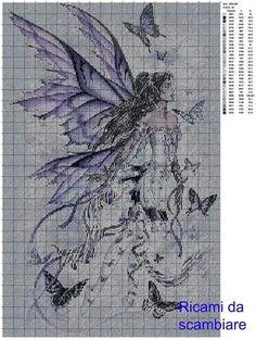 Fata viola Celtic Cross Stitch, Dragon Cross Stitch, Fantasy Cross Stitch, Cross Stitch Fairy, Cross Stitch Angels, Cross Patterns, Counted Cross Stitch Patterns, Cross Stitch Charts, Canvas Patterns