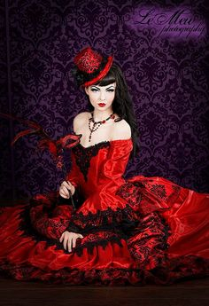 Gothic Victorian Steampunk Antoinette Black and Red Wedding gown by RomanticThreads