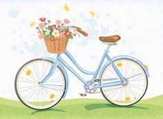 Vintage Bicycle with Flowerbasket Art Print Vintage Bicycle Art 425cc7139
