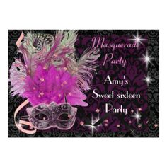 Pink and purple masquerade sweet 16 Birthday party Custom Announcement