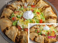 This taco-filled crescent ring is the perfect meal for Taco Night! Dress it up with fresh shredded lettuce, chopped tomatoes and taco sauce for a fun twist on tacos! Ingredients 1 lb ground beef 1 package (1 oz)  taco seasoning mix 1 cup shredded Cheddar cheese (4 oz) 2 cans (8 oz each) refrigerated crescent dinner rolls Shredded lettuce, …