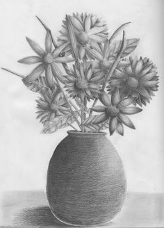 Flower Vase Pencil Drawing class=