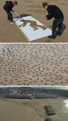Peace Day Normandy Installation. 9000 silhouettes made on the D-Day beaches to commemorate the fallen soldiers.