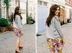 print skirt and jumper