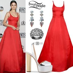 Selena Gomez attended the 2016 American Music Awards last night wearing a Prada Red Gown (Not available online), White Diamond Dangling Earrings (Not available online) and a White Diamond Coup d'Eclat de Cartier Ring ($36,100.00) both by Cartier, with Gisueppe Zanotti Betty Platform Sandals ($795.00). You can find similar sandals for less at PrettyLittleThing ($52.50).