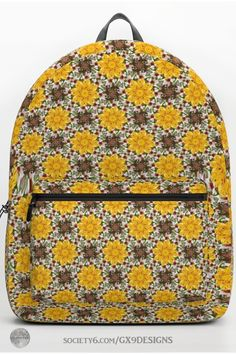 * K137 Yellow Flower Kaleidoscope Backpack by #Gravityx9 at Society6 * This design is available on stickers, coffee mugs, cards, tee shirts and more. * Decorative Pattern of yellow mandala style flowers * back to school supplies high school * back to school supplies * back to school shopping * High school shopping list * school supplies * school supplies high school * #backtoschool #schoolbags #schoolshopping #backpacks #floral #yellow  0820 Back To School Shopping, High School, Back To School Backpacks, Back To School Supplies, D Craft, Designer Backpacks, Vera Bradley Backpack, Yellow Flowers, School Bags