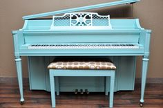 Kohler & Campbell Console in turqoise. Saaaweeetness! #refinish #paintedpiano #pianorevivalproject
