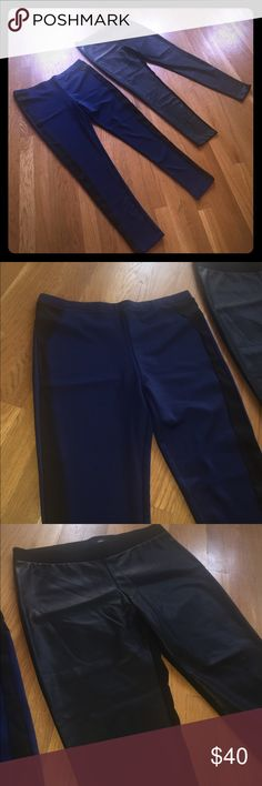 """NWOT Faux leather and faux satin leggings bundle Both new without tag never worn or washed. Both super soft and stretchy. Look like you are wearing expensive dress pants but feel like leggings. Blue and with stripe feel like satin. The black look like leather in the front and fabric on the back. Both size large with 29"""" inseams. (V239) Mossimo Supply Co Pants Skinny"""