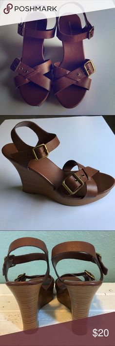 Banana Republic Wedges Banana Republic Wedges ~ Size Tag has worn off on the bottom of shoe but they are a size 9 ~ 4 1/2 inch heel ~ Shoes are in good condition but the bottoms have some wear as noted in photos Banana Republic Shoes Wedges