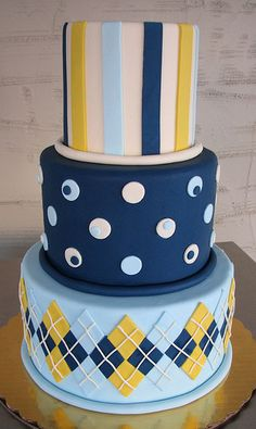 cute cake for a boy's party blue and yellow argyle cake