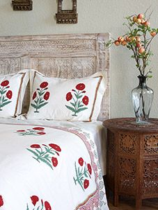Mughal Poppy ~ Red Green Floral Vintage White Pillow Sham