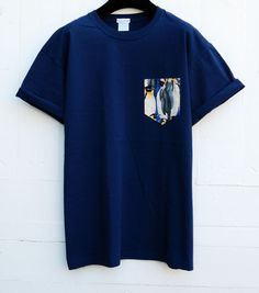 Hey, I found this really awesome Etsy listing at https://www.etsy.com/listing/199100826/mens-penguin-pattern-navy-blue-pocket-t