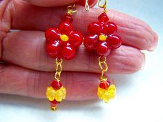 Daisy Earrings Flower Earrings Red Earrings Yellow by doodaba Red Earrings, Glass Earrings, Flower Earrings, Handmade Items, Handmade Gifts, Flower Shape, Daisy, Dangles, Yellow