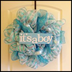 Baby Shower Wreath, It's a Boy, Baby Mesh Wreath, Mesh Wreath. $65.00, via Etsy.