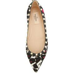 Valentino Rockstud Calf Hair Ballerina Flat, Leopard Pink
