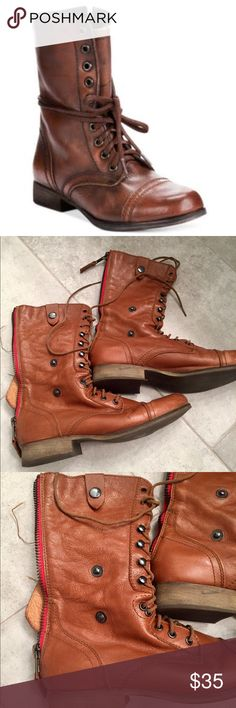 Steve Madden boots 🍁🍁🍁 Round toe, front lace-up with back zipper, genuine leather.  Pre loved in good condition as seen on sole.  Has a few front scuffs. Steve Madden Shoes Lace Up Boots