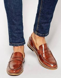 Classic Cognac Patent Leather Penny Loafer, Men's Spring Summer Fashion.