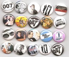 James Bond Classic Set 20 Pinbacks Buttons Pins Badges. $19.99, via Etsy.