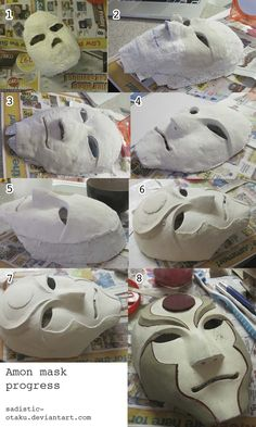 mask tutorial with paper clay. mask tutorial with paper clay. Cosplay Tutorial, Cosplay Diy, Mascara Papel Mache, Clay Crafts, Paper Crafts, Paper Mache Mask, Masks Art, Clay Masks, Paperclay