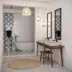 Une salle de bain au comble de la tendance mêlant carreaux de ciment, sol en béton ciré et baignoire balinaise ! Avez-vous un projet de…