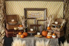 """Very fall-ish - great for a casual fall gathering. Natalie said this about planning the party - """"The dessert table consisted of homemade pies, Apple, Dutch Apple, Caramel Apple & Pumpkin pie. Other desserts included Caramel apples, pumpkin cookies, apple cider donuts & pumpkin fluff. I wanted to carry the Fall theme all the way through the party so I created a Chili Bar which consisted of Chili, Chili Mac, Chili Fries, Chili Dogs & Chili Baked Potatoes!"""" AWESOME!"""