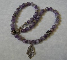 Yemenite Silver Filigree Hamsa, Sage Amethyst, Bali and Hill Tribe Silver Pendant Necklace Photos
