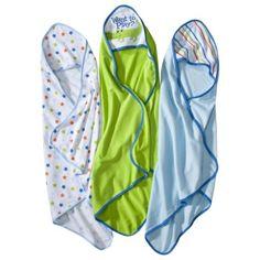 Circo® Newborn Boys' 3 Pack Assorted Hooded Towels - Blue/Green