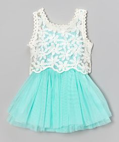 Take a look at this Blue  Ivory Pleat Dress  Lace Tank - Infant, Toddler  Girls by Sweet Cheeks on #zulily today!