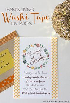 Thanksgiving Washi Tape Invitations   For more washi projects and inspiration visit thewashiblog.com   #washi #washitape #thanksgiving