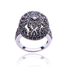 Sterling Silver Marcasite Oval Ring, Size 5.  check discount today! click picture on top.