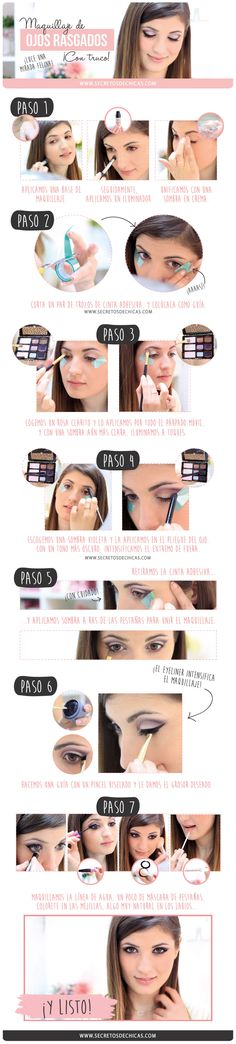 Makeup step by step with trick: slanted eyes Makeup step by step with trick: slanted eyes . Glamorous Makeup for Beginners Love Makeup, Simple Makeup, Makeup Tips, Hair Makeup, Vichy Dermablend, Beauty Skin, Hair Beauty, Hooded Eye Makeup, Dark Skin Makeup