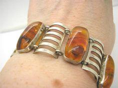Vintage 1960s Modernist Retro 835 Silver & Natural Amber Panel Bracelet signed