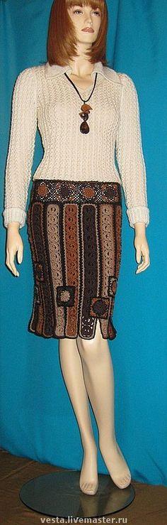 """Юбка """"Кофейная нотка"""" - юбка зимняя,юбка крючком,авторская работа,юбка-карандаш"""