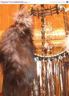Silver Leather Fringed Dreamcatcher totem to by DreamCatcherMan, $125.00