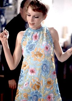 Mia Farrow in a Pierre Cardin beaded and sequined mini, May 1967.