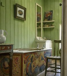 The bath panel as painted by Duncan Grant at Charleston Farmhouse