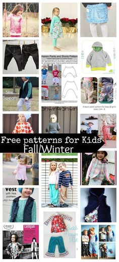 20 free sewing patterns for kids fall/winter - Sew up all kinds of wonderful fall and wintter kids clothes with this amazing group of free patterns