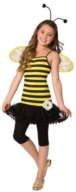 Sweet as Honey comes with adorable bee stripe dress with attached petti skirt, flower embellishment, wings and antennae headband. Child LG 10-12.