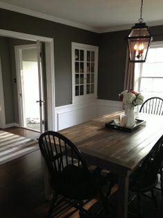The Fat Hydrangea Dark dining room paint and wainscoting