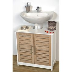 This bathroom vanity cabinet Stockholm is in medium-density fiberboard (MDF). This bath furniture features a 2 painted finish doors with one shelf inside to help banish clutter from your bathroom and a large work surface up top for storage. It's an easy and elegant way to fit more necessities into your bathroom and to provide ample storage in a small space. This elegantly-designed vanity cabinet is easy to assemble with the included hardware and features a top faucet hole precut. Color oa...