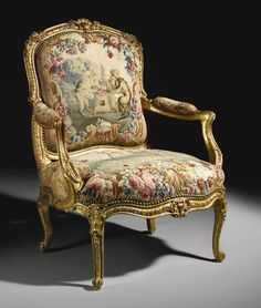 Beautiful French Open Armchair - Louis XV carved giltwood fauteuil, attributed to Jacques-Jean-Baptiste Tilliard, circa Upholstered in eighteenth-century Beauvais tapestry. Victorian Furniture, French Furniture, Classic Furniture, Fine Furniture, Furniture Styles, Rustic Furniture, Antique Furniture, Luxury Furniture, Silla Art Deco