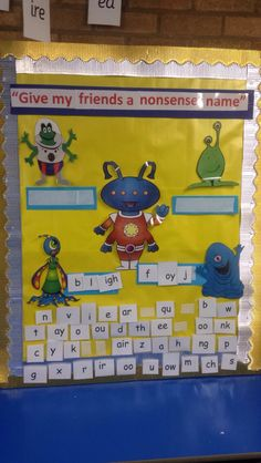 Ks1 phonics. Children create their own alien words and read back to their friends or record on a talking tin!