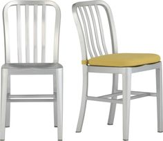 Delta Side Chair and Cushion in Dining Chairs | Crate and Barrel. Like the metal look too