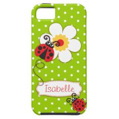 Cute ladybug girls name green red iphone 5 case. Art and design by www.sarahtrett.com