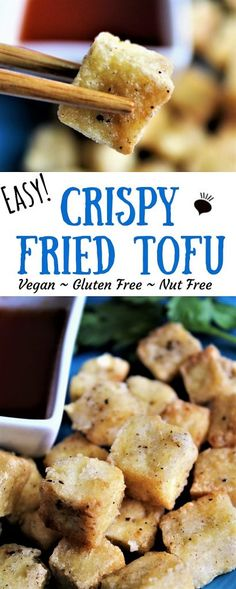 Let me show you how to make crispy tofu! It took me a long time after I went to perfect my tofu making skills. I wanted that perfect crispy tofu like I would get at a Chinese restaurant! After many years, I have figured out some tricks to make your tofu perfect. thehiddenveggies.com #tofu #crispytofu #crispyfriedtofu #thaichilisauce #thaichilidippingsauce Best Gluten Free Recipes, Tofu Recipes, Vegan Recipes Easy, Vegetarian Recipes, Dinner Recipes, Vegan Apps, Vegan Foods, Vegan Party Food, Air Fryer Recipes Easy