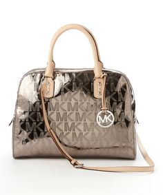 Look at this MICHAEL Michael Kors Nickel Signature Large Satchel on #zulily today! #relojes #reloj #michaelkors #guatemala